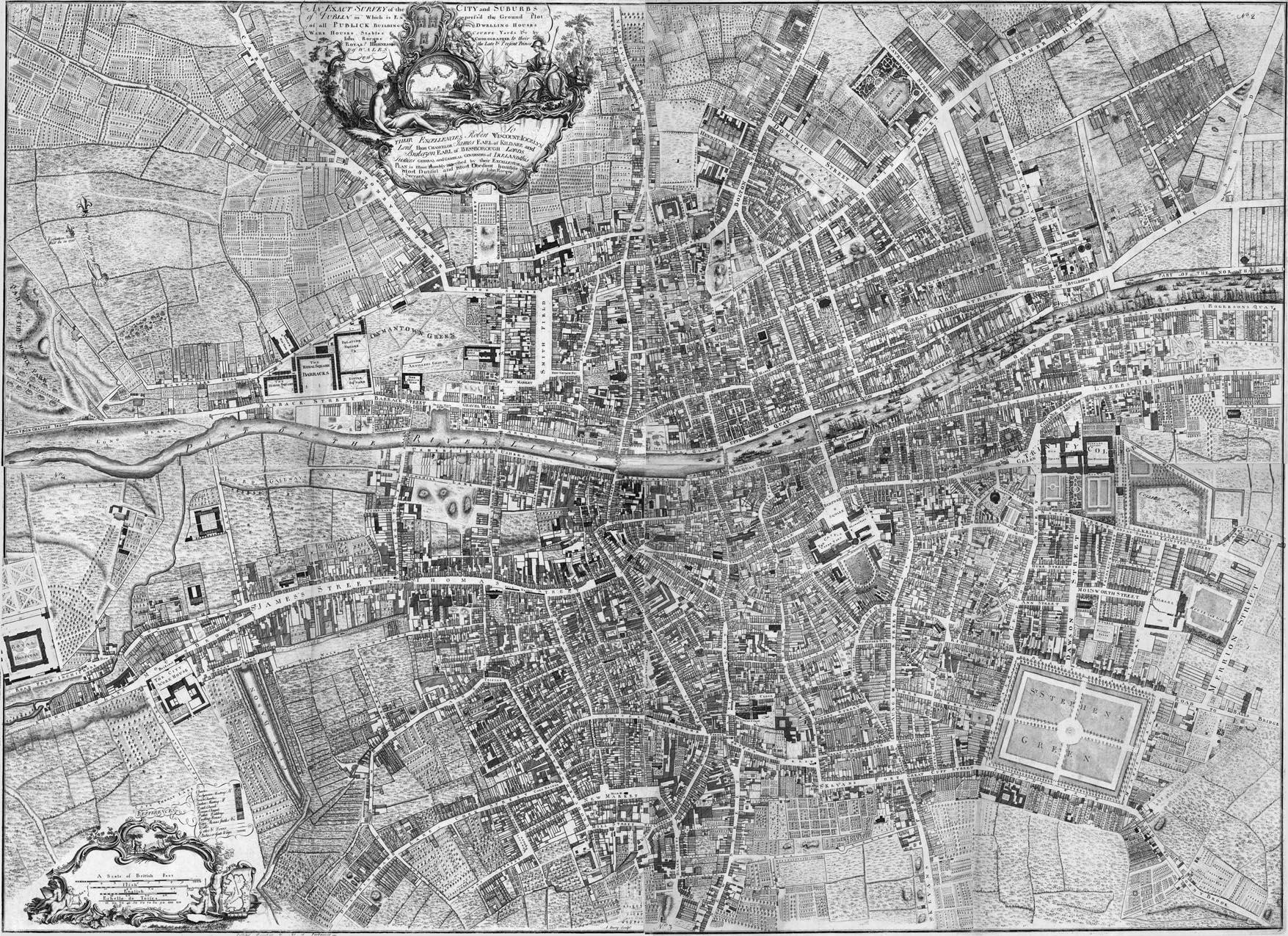 Map Of Quinn Ireland.Dublin 1756 By John Rocque Royal Irish Academy